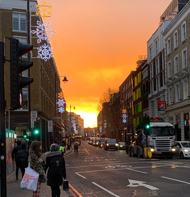 Not the great fire of London (thank goodness,) but a morning sky worth stopping for.