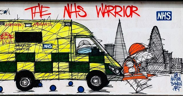 Superb @nathanbowenart in Shoreditch. Championing our heathcare workers.