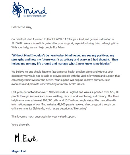 Mind thank you letter